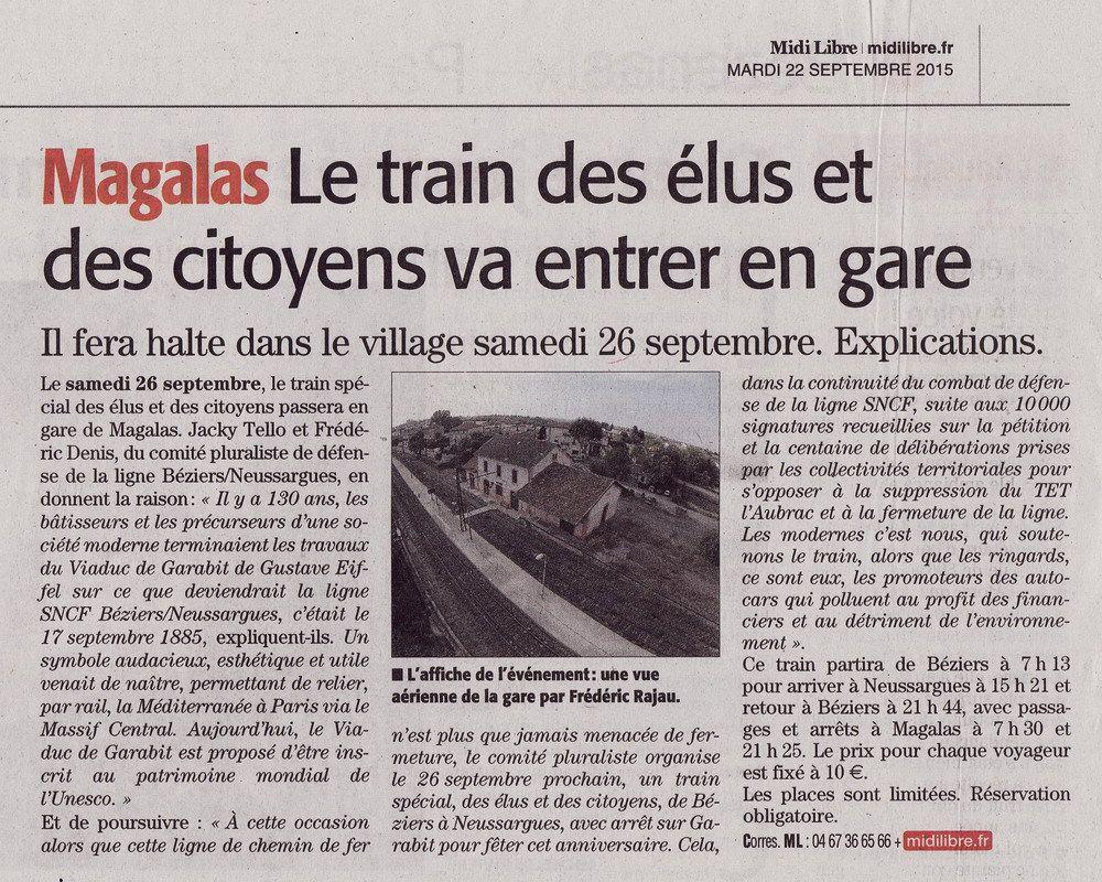 Article paru dans le Midi-Libre du 22 septembre 2015