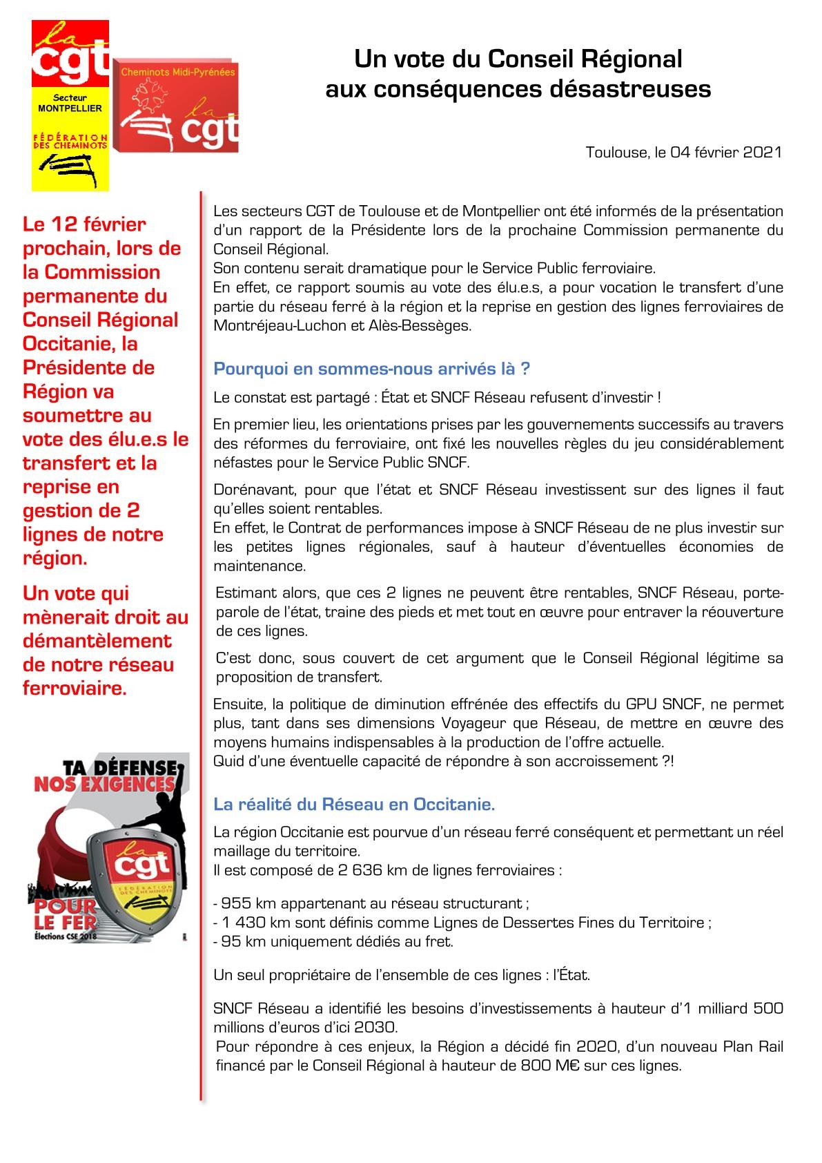 Transfert de lignes aux régions : l'analyse des cheminots CGT d'Occitanie