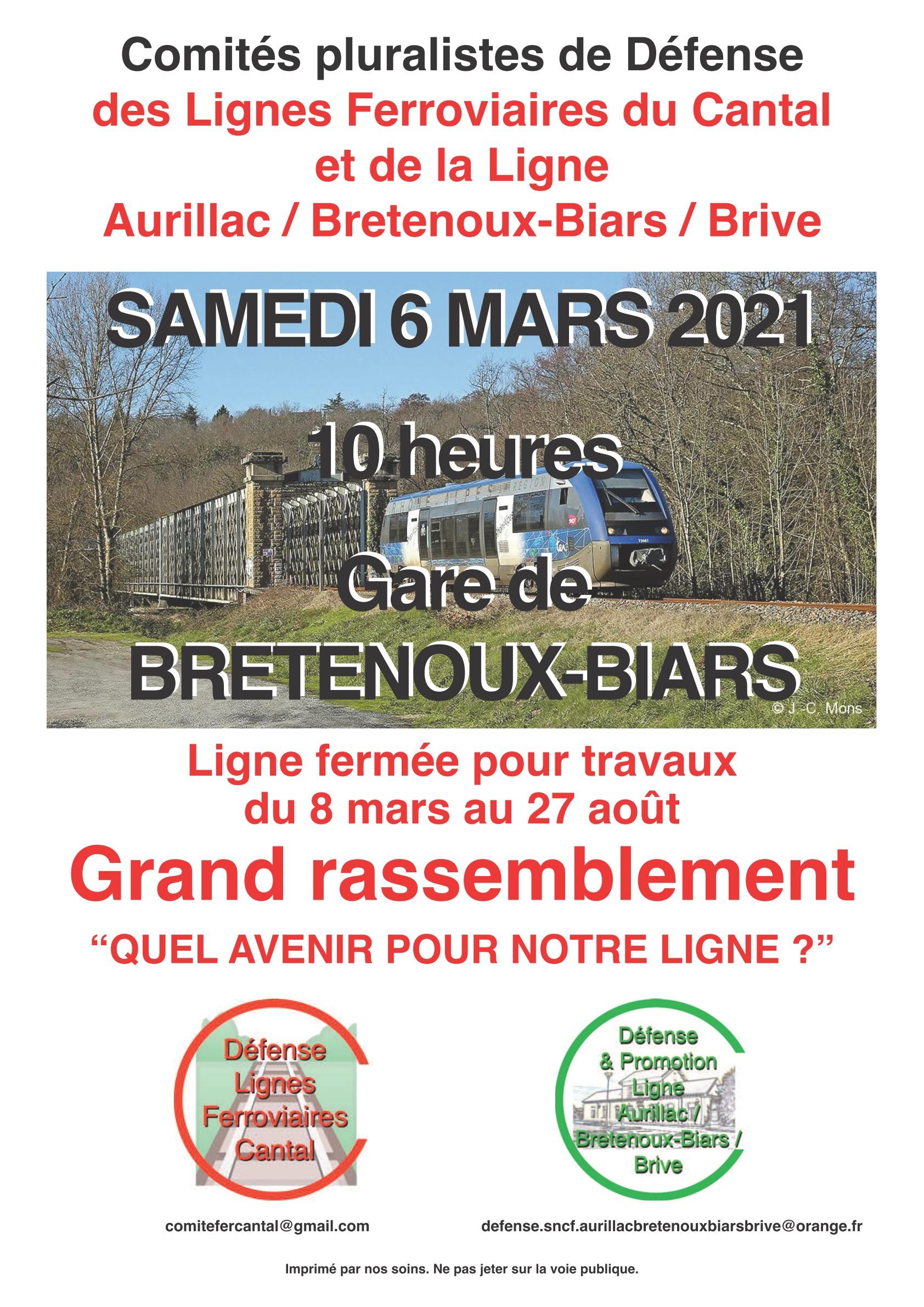 Le 6 mars 2021 : rassemblement pour le rail dans le Massif Central à la gare de Bretenoux-Biars